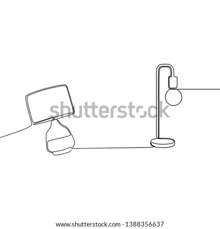 vintage lamp and bohlam lamp continuous and one line lamps Vector illustration