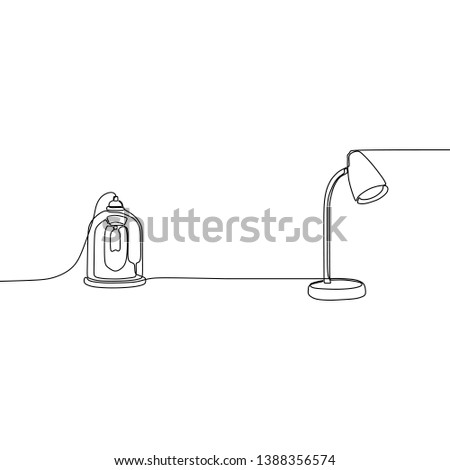 vintage lamp and candle lamp one line table lamps with lampshades. Vector illustration. Set of isolated black contoured objects on white background