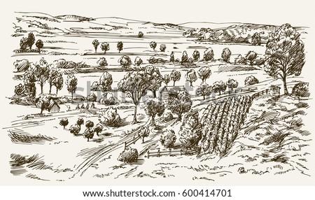 vintage landscape  new england