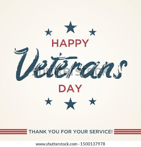 Vintage latter Happy Veterans day concept background. Illustration of Happy Veterans day vector concept background for web design. Vector illustration