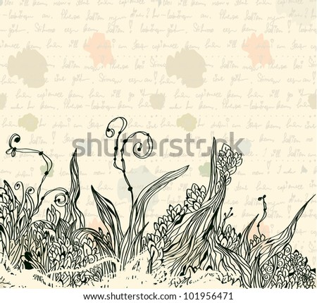 Vintage letter background with floral pattern