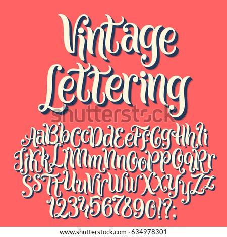 Vintage lettering vector font aphabet