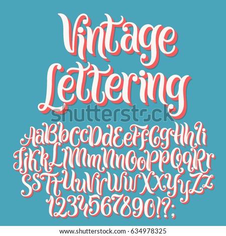 Shutterstock Vintage lettering vector font aphabet