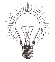 Vintage light bulb in engraving style. Hand drawn retro lightbulb with illumination for idea concept. Vector illustration. Power energy bulb sketch, innovation business