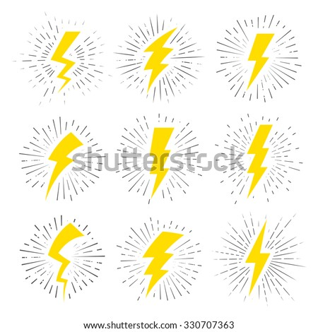 Vintage Lightning Bolt Signs. Template for t-shirt, cover, pack, poster or your art works. Foto stock ©