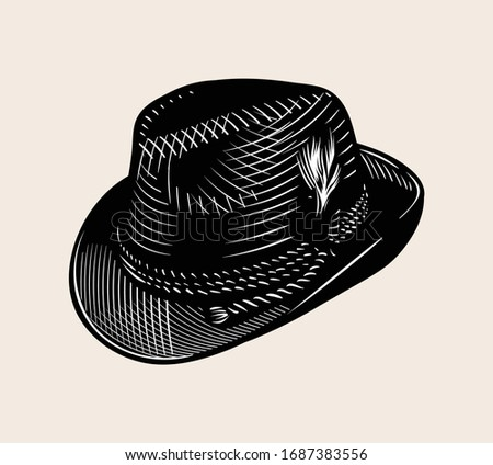 Vintage line art vector drawing of Tyrolean hat. High quality Black and white illustration. Stock photo ©