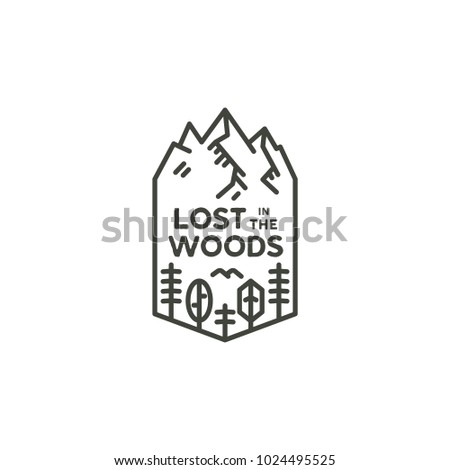 Vintage linear travel badge. Camping line art label concept. Mountain expedition logo design. lumberjack logotype. Lost in the woods sign. Stock vector patch isolated on white background
