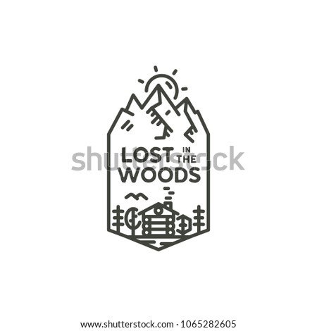 Vintage linear travel badge. Camping line art label concept. Mountain expedition logo design. Lumberjack logotype. Lost in the woods sign. Stock vector patch isolated on white.