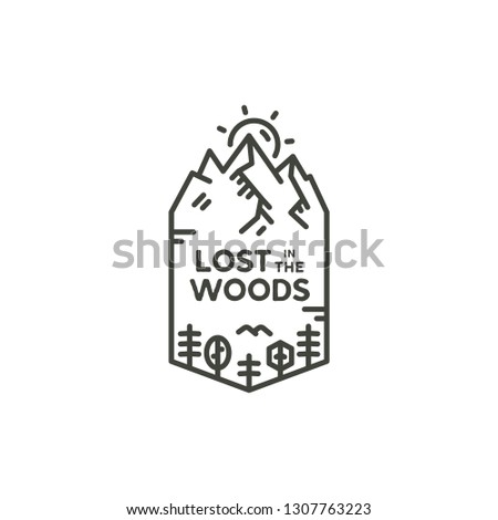 Vintage linear travel badge. Camping line art label concept. Mountain expedition logo design. Travel badge, lumberjack logotype. Lost in the woods sign. Stock vector patch isolated on white background