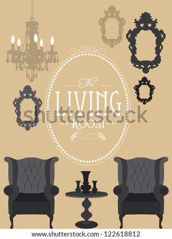 Living Room on Vintage Living Room Vector Illustration   122618812   Shutterstock