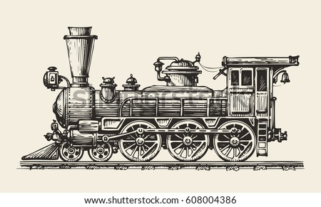 Vintage locomotive. Hand-drawn retro train. Sketch, vector illustration