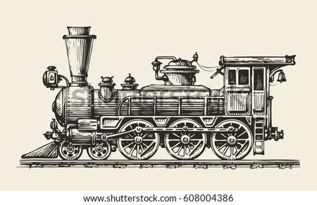 vintage locomotive hand drawn