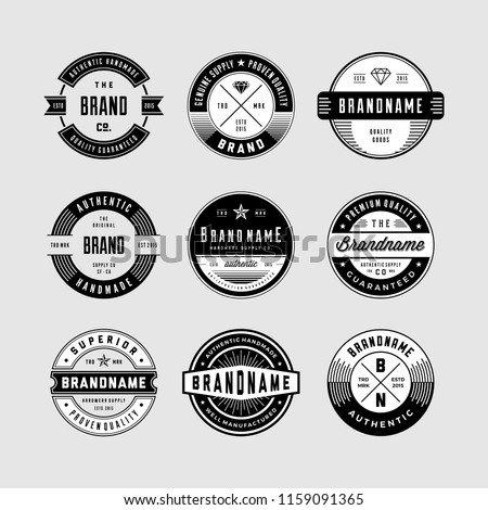 Vintage Logo and circular Badges set 1. perfect for identity, logo, insignia or badge design with retro vintage looks. it is also good for print design such clothing line, merchandise etc.