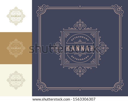 Vintage logo elegant flourishes line art graceful ornaments victorian style vector template design. Classic calligraphic luxury crest royal heraldic boutique, hotel or restaurant sign and ornate frame