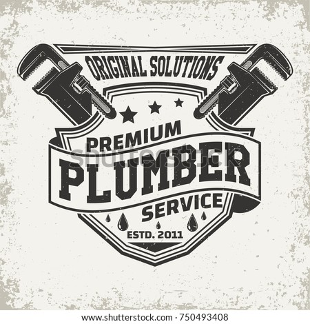 Vintage logo graphic design, print stamp, plumber typography emblem, Creative design, Vector