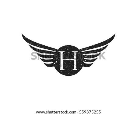vintage logo letter h grunge