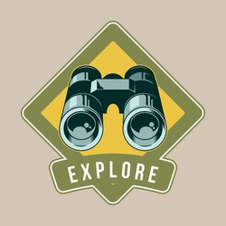 Vintage logo, print apparel design, vector illustration of emblem, patch, badge with Classic metal binoculars for watch animals birds and wildlife. Adventure, travel, summer camping, outdoor, explore.
