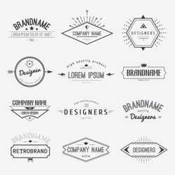 Vintage Logo set, retro design elements, business signs template, logos, identity, labels, badges and objects.