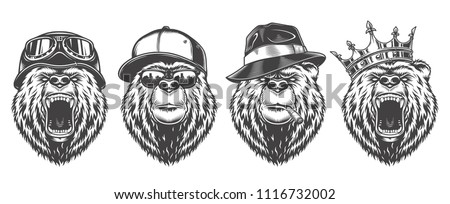 vintage logo style bear set of