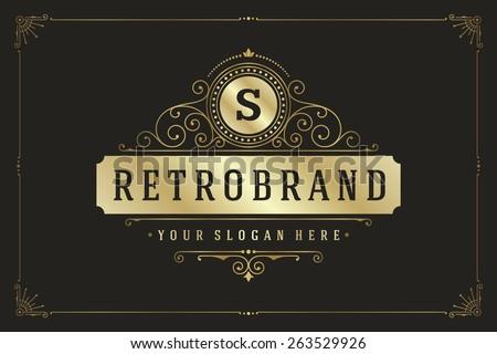 Vintage logo template golden elegant flourishes ornaments vector illustration. Good for luxury crest, boutique brand, wedding shop, royal hotel sign. Ornate frame border design. Foto stock ©