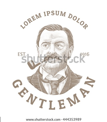 vintage logo with bold man...