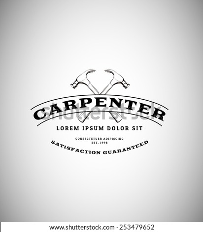 vintage logo with two hammers