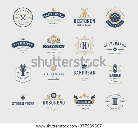 Vintage Logos Design Templates Set. Vector design elements, Logo Elements, Logo symbols, Logo Icons, Logos Vector, Symbols Design, Retro Logos. Beer Logo, Restaurant Logo, Ornament Logo, Bakery Logo.