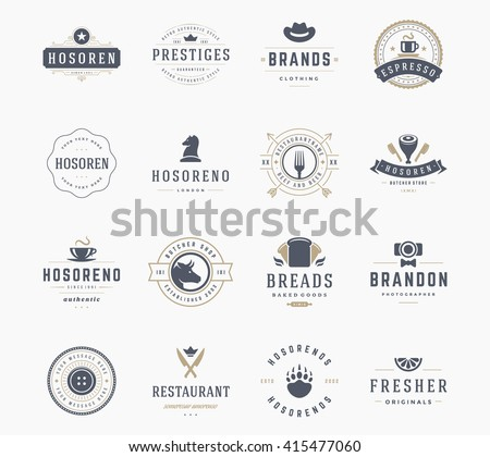 set of bakery and bread logo labels design download free vector