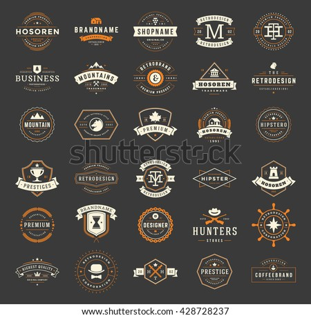Vintage Logos Design Templates Set. Vector Labels Elements  Retro Badges and Silhouettes. Big Collection 30 Items.