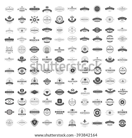 Vintage Logos Design Templates Set. Vector logotypes elements collection, Icons Symbols, Retro Labels, Badges, Silhouettes. Big Collection 120 Items. - Shutterstock ID 393842164
