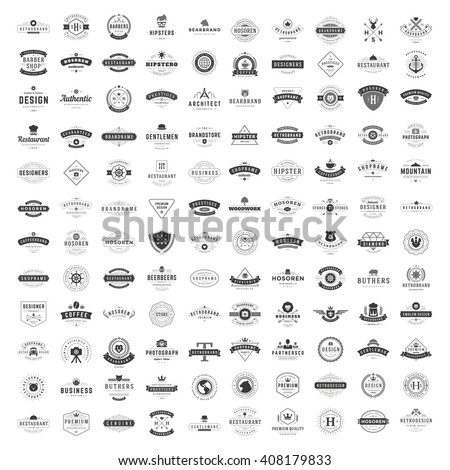 Vintage Logos Design Templates Set. Vector logotypes elements collection, Icons Symbols, Retro Labels, Badges, Silhouettes. Big Collection 120 Items. - Shutterstock ID 408179833