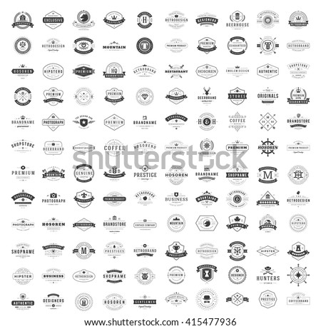Vintage Logos Design Templates Set. Vector logotypes elements collection, Icons Symbols, Retro Labels, Badges, Silhouettes. Big Collection 120 Items. stock photo