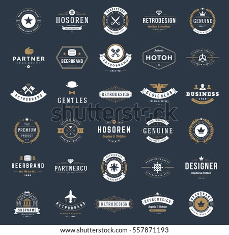 Vintage Logos Design Templates Set. Vector logotypes elements collection, Icons Symbols, Retro Labels, Badges, Silhouettes. stock photo