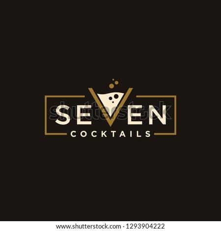 vintage logotype seven Cocktail logo design vector. alcohol drink icon. letter v as cocktail glass vector design template  #1293904222