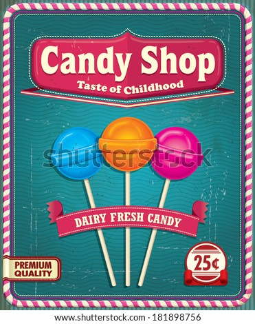 Vintage Lollipop poster design
