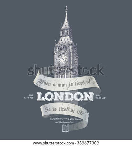 vintage london graphics with