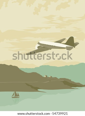 Vintage looking illustration of a DC3 flying over an ocean bay.