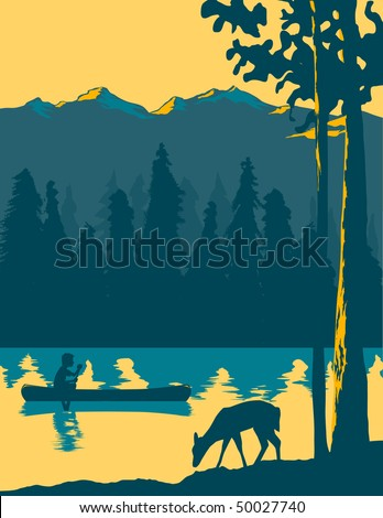 Vintage looking illustration of a man canoeing across a lake. - stock vector