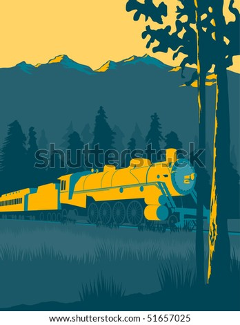 Vintage looking illustration of a train going through the mountains.