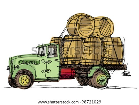 vintage lorry loaded with barrel - cartoon