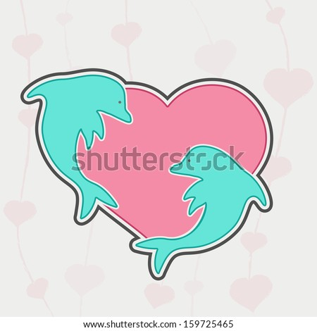 Vintage love background with fishes on pink heart shape.