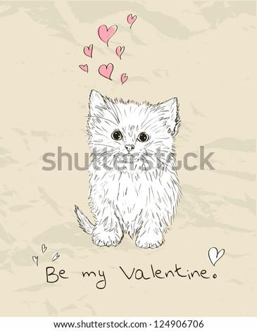 Vintage love card with kitten. Vector illustration EPS8