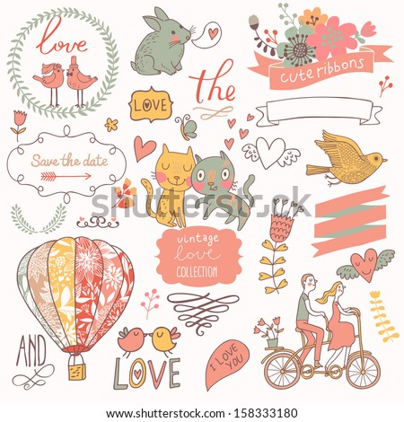 Vintage love collection: flowers, labels, laurel, hearts, birds, cats, rabbit, air-balloon, bicycle. Graphic set in retro style