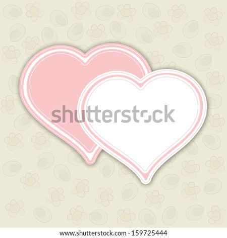 Vintage love concept with two hearts and space for your message.