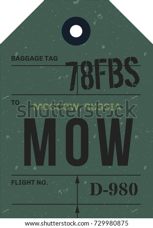 Vintage Luggage Tag. Real looking airport luggage tag.