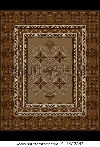 Vintage luxurious oriental carpet with ethnic pattern in brown shades #514667347