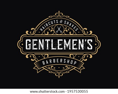 Vintage luxury badge logo template. Suitable for barber shop, tattoo studio, whiskey, alcohol, beer, salon, shop signage.