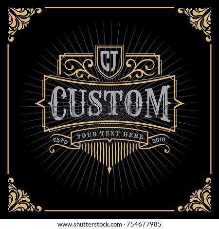 Vintage Luxury Banner Template Design for Label, Frame, Product Tags. Retro Emblem Design. Vector illustration
