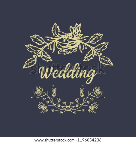 Vintage luxury gold floral dark background for wedding invitation, greeting card, banner #1196054236