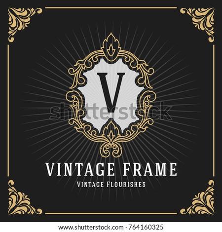 Vintage Luxury Monogram Banner Template Design for Label, Frame, Product Tags. Retro Emblem Design. Vector illustration
